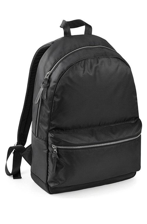 1-Colour Black Urban Padded Bag Nylon Twill Bagbase Onyx Backpack